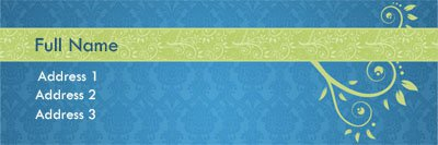Blue and Green Paisley Address Label Template